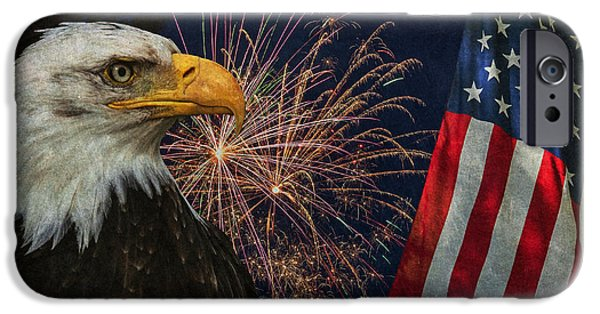 4th July Photographs iPhone Cases - Independence Day iPhone Case by Angie Vogel