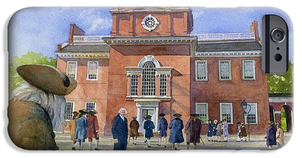American Revolution iPhone Cases - Independence Hall and Delegates iPhone Case by Rob Wood