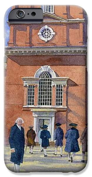 Independence Hall and Delegates iPhone Case by Rob Wood