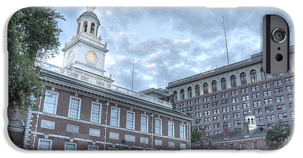 Morning iPhone Cases - Independence Hall at Dawn Landscape iPhone Case by Michael Turns