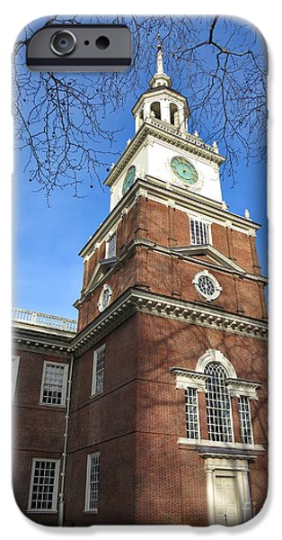 Facade iPhone Cases - Independence Hall Bell Tower iPhone Case by Olivier Le Queinec