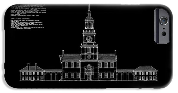 Constitution iPhone Cases - Independence Hall - South Elevation iPhone Case by Daniel Hagerman