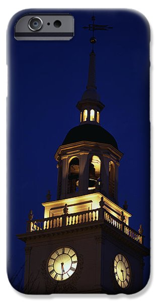 Liberation iPhone Cases - Independence Hall Tower Philadelphia Pa iPhone Case by Panoramic Images