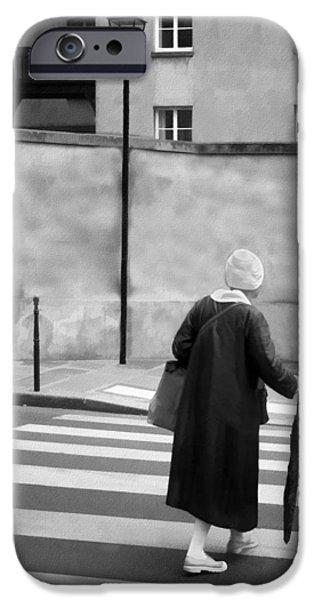 Crosswalk iPhone Cases - Independence - Street Crosswalk - Woman iPhone Case by Nikolyn McDonald