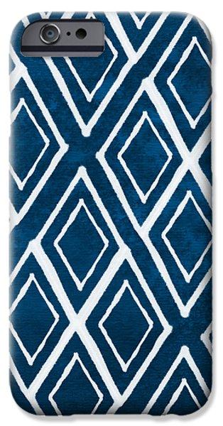 Indgo and White Diamonds Large iPhone Case by Linda Woods