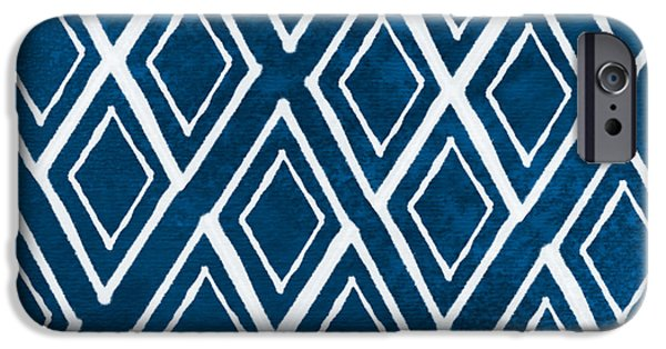 Ties iPhone Cases - Indgo and White Diamonds Large iPhone Case by Linda Woods