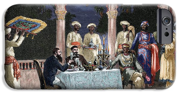 19th Century Photographs iPhone Cases - India. British Colonial Era. Banquet At The Palace Of Rais In Mynere. Engraving By Hildibrand iPhone Case by Bridgeman Images