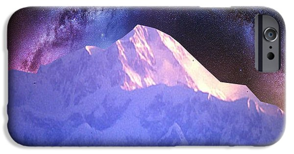 Abstract Digital Mixed Media iPhone Cases - India Nepal Himalaya Mountain ranges snow sparkle milky white presentation obtained through digital  iPhone Case by Navin Joshi