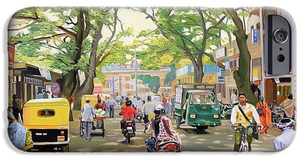 Figures iPhone Cases - India Street Scene iPhone Case by Dominique Amendola