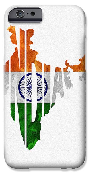 Abstract Map Digital Art iPhone Cases - India Typographic Map Flag iPhone Case by Ayse Deniz