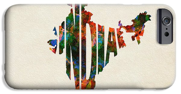 Abstract Map Digital Art iPhone Cases - India Typographic Watercolor Map iPhone Case by Ayse Deniz