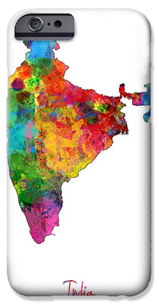Ga iPhone Cases - India Watercolor Map iPhone Case by Michael Tompsett