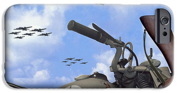 Weapon Digital iPhone Cases - Indian 841 And The B-17 Bomber SQ iPhone Case by Mike McGlothlen
