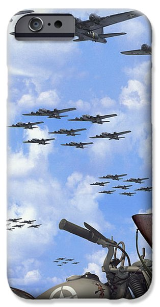 Weapon Digital iPhone Cases - Indian 841 and the B-17 Panoramic iPhone Case by Mike McGlothlen