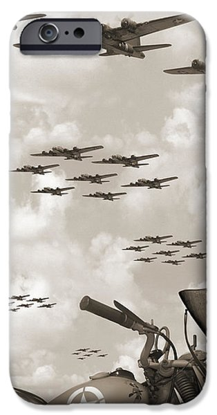 Weapon Digital iPhone Cases - Indian 841 And The B-17 Panoramic Sepia iPhone Case by Mike McGlothlen