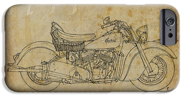 Bicycle Drawings iPhone Cases - Indian Chief 1947 iPhone Case by Pablo Franchi