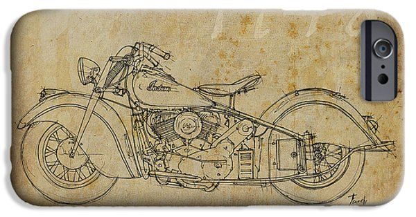 Indian Ink iPhone Cases - Indian Chief 1948 iPhone Case by Pablo Franchi