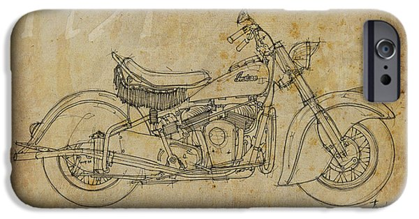 Indian Ink iPhone Cases - Indian Chief 1951 iPhone Case by Pablo Franchi