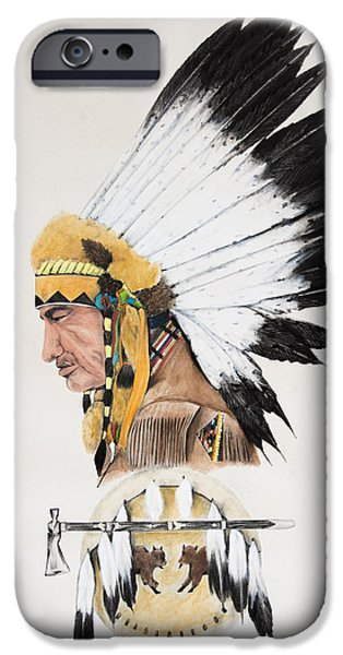 Earth Tones Drawings iPhone Cases - Indian Chief contemplating iPhone Case by Joe Lisowski
