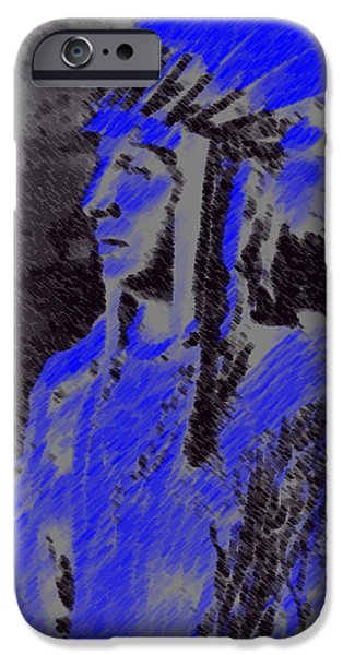 Abstract Digital Pastels iPhone Cases - Indian Chief iPhone Case by George Pedro