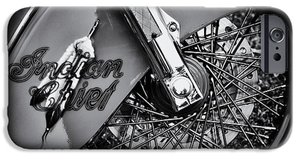 Airbrush Photographs iPhone Cases - Indian Chief Spoked Wheel Monochrome iPhone Case by Tim Gainey