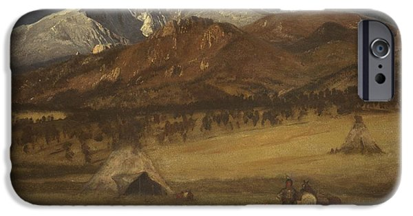 1876 Paintings iPhone Cases - Indian Encampment - Evening iPhone Case by Albert Bierstadt