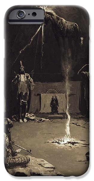 Frederic Remington iPhone Cases - Indian Fire God. The Going of the Medicine-Horse iPhone Case by Frederic Remington