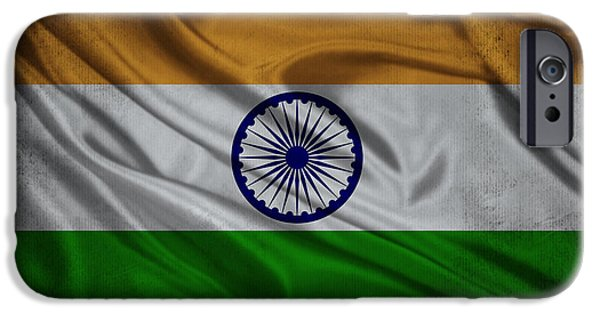 Waving Flag Mixed Media iPhone Cases - Indian flag waving on aged canvas iPhone Case by Eti Reid