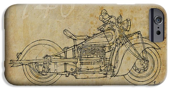 Bicycle Drawings iPhone Cases - Indian Four 1940 iPhone Case by Pablo Franchi