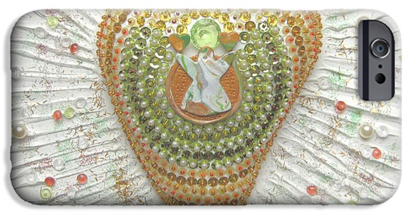 Angel Reliefs iPhone Cases - Indian Heart Angel iPhone Case by Heidi Sieber