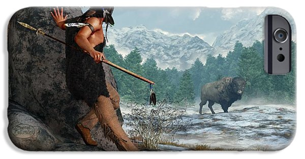 Recently Sold -  - Winter iPhone Cases - Indian Hunting with Atlatl iPhone Case by Daniel Eskridge
