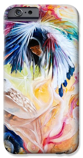 Native American Spirit Portrait iPhone Cases - Native american Indian Spirit  iPhone Case by  ILONA ANITA TIGGES - GOETZE  ART and Photography