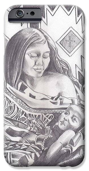 Indian Mother and Child iPhone Case by John Keaton