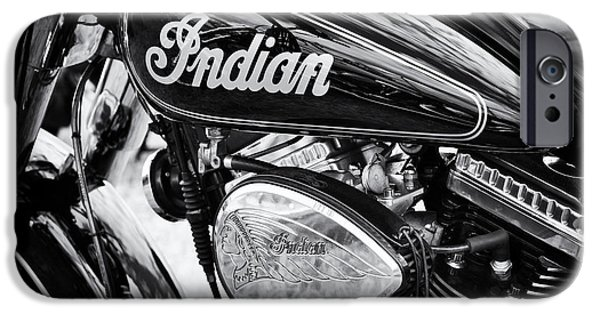 Monochrome iPhone Cases - Indian Chief Motorbike Monochrome iPhone Case by Tim Gainey