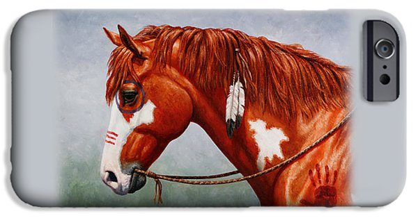 Chestnut Horse iPhone Cases - Indian Pony War Horse iPhone Case iPhone Case by Crista Forest