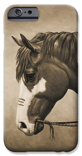 Chestnut Horse iPhone Cases - Indian Pony War Horse Sepia Phone Case iPhone Case by Crista Forest