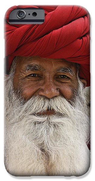 Old Man With Beard iPhone Cases - Indian Santa Claus? iPhone Case by Michele Burgess