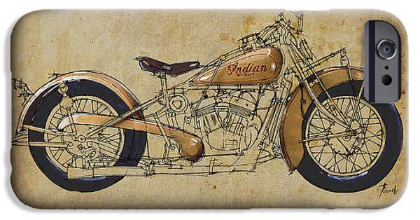 Indian Ink iPhone Cases - Indian Scout 1932 iPhone Case by Pablo Franchi