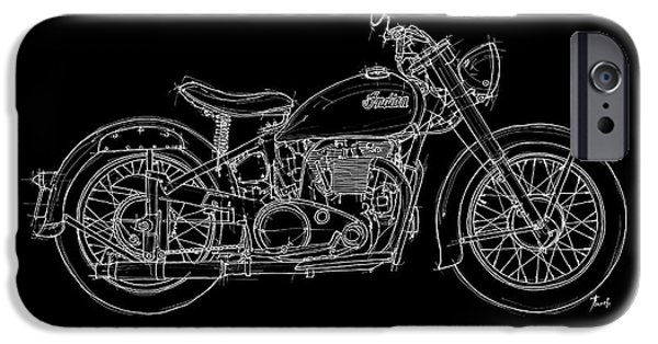 Transportation Pastels iPhone Cases - Indian Scout 1949 iPhone Case by Pablo Franchi