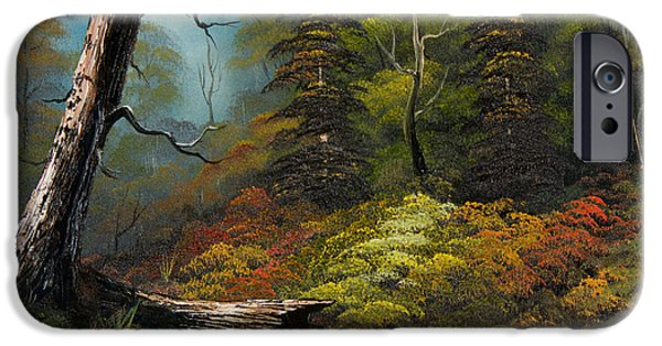 Bob Ross Paintings iPhone Cases - Secluded Forest iPhone Case by C Steele