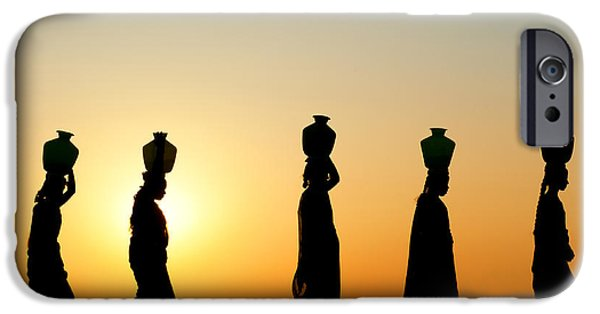Indian iPhone Cases - Indian Women Carrying Water Pots At Sunset iPhone Case by Tim Gainey