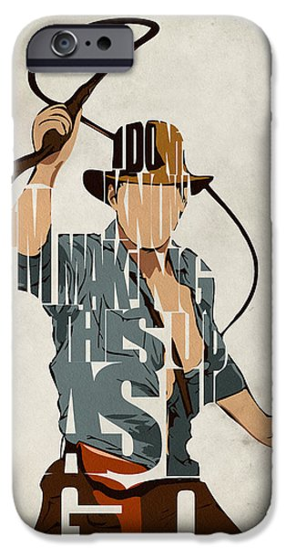 Character iPhone Cases - Indiana Jones - Harrison Ford iPhone Case by Ayse Deniz