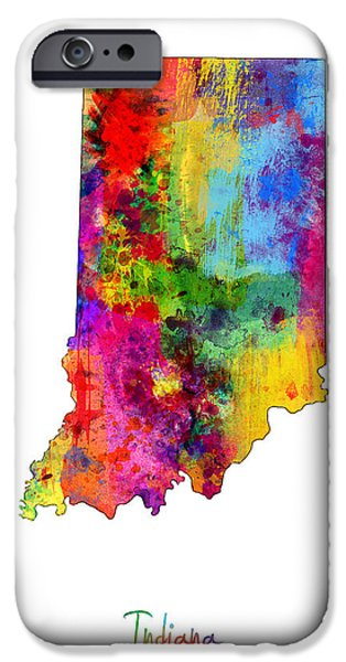 Indiana Art iPhone Cases - Indiana Map iPhone Case by Michael Tompsett