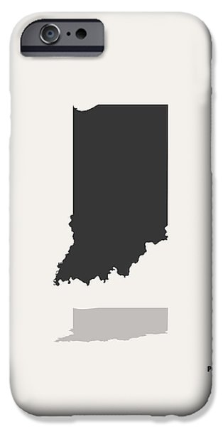 Indiana Art iPhone Cases - Indiana Minimalist State Map with Stats iPhone Case by Finlay McNevin