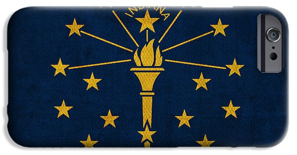 Indiana Art iPhone Cases - Indiana State Flag Art on Worn Canvas iPhone Case by Design Turnpike