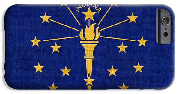 Declaration Of Independence Digital iPhone Cases - Indiana State Flag iPhone Case by Pixel Chimp