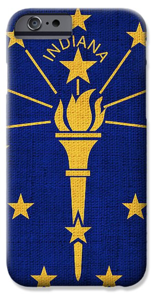 Indiana State Flag iPhone Case by Pixel Chimp