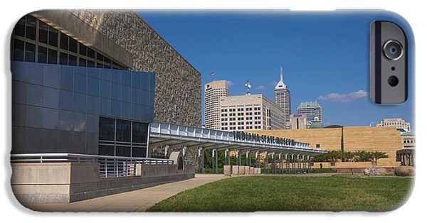 Indy Car iPhone Cases - Indiana State Museum and Indianapolis Skyline iPhone Case by David Haskett