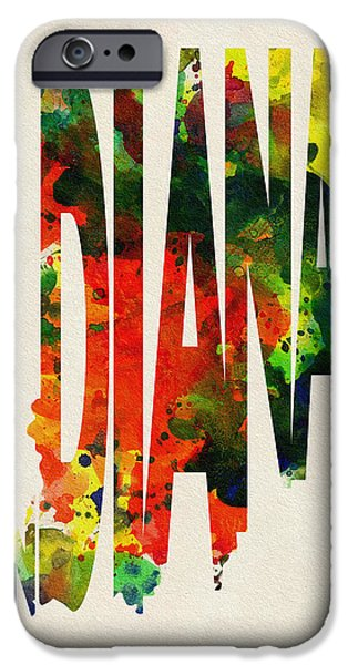 Dirty iPhone Cases - Indiana Typographic Watercolor Map iPhone Case by Ayse Deniz