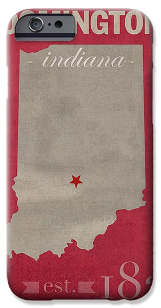 Indiana iPhone Cases - Indiana University Hoosiers Bloomington College Town State Map Poster Series No 048 iPhone Case by Design Turnpike